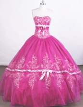 Beautiful Ball Gown Strapless Floor-length Organza Fuchsia Quinceanera Dresses Style FA-C-058