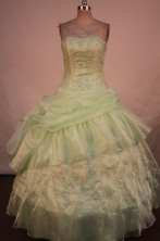 Beautiful Ball Gown Strapless Floor-length Quinceanera Dresses Appliques with Beading Style FA-Z-022