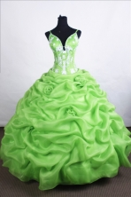 Beautiful Ball Gown Straps Floor-length Spring Green Quinceanera Dresses Style FA-C-057