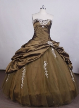 Brand New Ball Gown Strapless FLoor-Length Brown Beading Quinceanera Dresses Style FA-S-013
