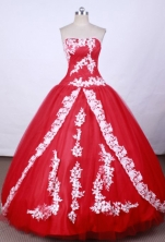 Brand New Ball Gown Strapless FLoor-Length Hot Pink Appliques And Beading Quinceanera Dresses Style FA-S-083
