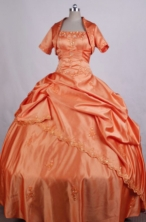 Brand New Ball Gown Strapless FLoor-Length Orange Appliuqes And Beading Quinceanera Dresses Style FA-S-027
