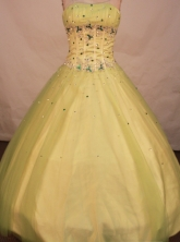 Cute A-line strapless floor-length net beading yellow green quinceanera dresses FA-X-093