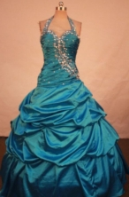 Elegant Ball Gown Halter Top  Floor-length Quinceanera Dresses Appliques with Beading Style FA-Z-031