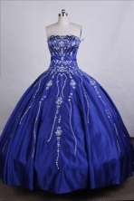Elegant Ball Gown Strapless Floor-length Blue Quinceanera Dresses Style FA-C-042