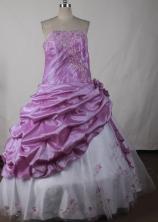 Elegant Ball Gown Strapless Floor-length Lavender Quinceanera Dress LJ2630
