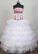 Elegant Ball Gown Strapless Floor-length White Quincenera Dresses TD260066