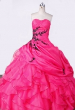 Elegant Ball Gown Sweetheart Floor-length Hot Pink Appliques Quinceanera dress Style FA-L-001