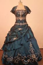 Exquisite Ball Gown Strapless Floor-Length Blue Quinceanera Dresses Style LJ42488