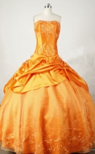 Exquisite Ball Gown Strapless Floor-length Orange Taffeta Embroidery Quinceanera dress Style FA-L-031