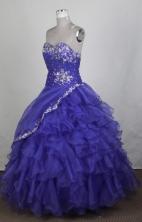Exquisite Ball Gown Sweetheart Floor-length Blue Quinceanera Dress Y0426014