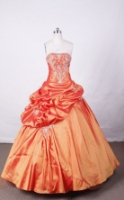 Fashionable Ball Gown Strapless FLoor-Length Orange Appliques And Beading Quinceanera Dresses Style FA-S-123