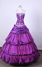 Fashionable Ball Gown Strapless FLoor-Length Purple Beading and Appliuqes Quinceanera Dresses Style FA-S-066