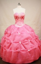 Fashionable Ball Gown Sweetheart Floor-length Coral Red Organza Embroidery Quinceanera dress Style FA-L-072