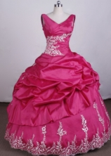 Fashionable Ball Gown V-Neck Floo_length Appliques Tffeta Hot Pink Quinceanera Dresses Style FA-S-009