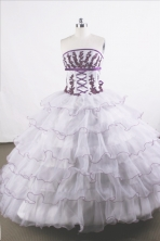 Gorgeous Ball Gown Strapless Floor-length Organza Quinceanera Dresses Style FA-C-056