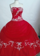 Gorgeous Ball Gown Strapless Floor-length Tulle Red Quinceanera Dresses Style FA-C-73