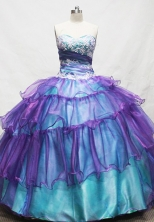 Gorgeous Ball Gown Sweetheart Floor-length Teal Appliques Quinceanera dress Style FA-L-087