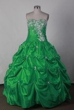 Lovely Ball Gown Sweetheart Floor-length Green Quincenera Dresses TD260010