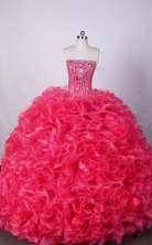 Luxurious Ball Gown Strapless FLoor-Length Organza Hot Pink Beading Quinceanera Dresses Style FA-S-038