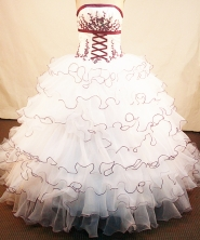 Luxurious ball gown strapless chapel organzai appliques white quinceanera dresses with rolling flowers FA-X-063