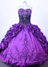 Luxuriously Ball Gown Sweetheart Floor-length Purple Taffeta Quinceanera dress Style FA-L-013