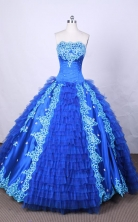 Modest Ball Gown Strapless FLoor-Length Blue Appliques And Beading Quinceanera Dresses Style FA-S-097