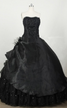 Modest Ball Gown Strapless Floor-length Black Taffeta Beading Quinceanera dress Style FA-L-048
