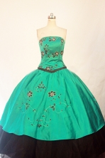 Modest ball gown strapless floor-length green appliques quinceanera dresses FA-X-064