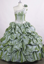Perfect Ball Gown One-shoulder Neck Floor-length Beading Quinceanera Dresses Style FA-C-69
