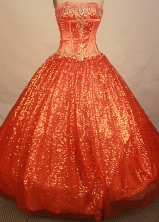 Perfect ball gown sweetheart-neck floor-length beading orange red quinceaenra dresses FA-X-073