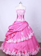 Popular Ball Gown Strapless FLoor-Length Hot Pink Beading And Appliques Quinceanera Dresses Style FA-S-104
