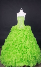 Popular Ball Gown Strapless Floor-Length Orangza Spring Green Beading Quinceanera Dresses Style FA-S-060
