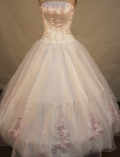 Popular ball gown strapless floor-length appliques white organza quinceanera dresses FA-X-085