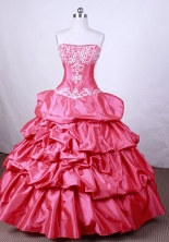 Pretty Ball Gown Strapless FLoor-Length Hot Pink Beading And Appliques Quinceanera Dresses Style FA-S-100