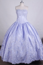 Pretty Ball Gown Strapless FLoor-Length Light Blue Beading And Appliques Quinceanera Dresses Style FA-S-014