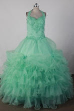 Sweet Ball Gown Halter Floor-length Green Quincenera Dresses TD260015