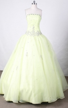 Sweet Ball Gown Strapless FLoor-Length Yellow Beading Quinceanera Dresses Style FA-S-130