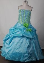 Sweet Ball Gown Strapless Floor-length Blue Quinceanera Dress LJ2608