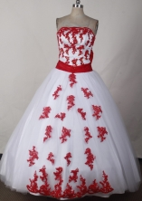 Sweet Ball Gown Strapless Floor-length White Quinceanera Dress