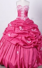 Sweet Ball Gown Sweetheart Floor-length Fuchsia Taffeta Appliques Quinceanera dress Style FA-L-018