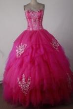 Sweet Ball Gown Sweetheart Floor-length Hot Pink Quincenera Dresses TD260021