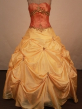 Sweet Ball Gown Sweetheart Neck Floor-Length Gold Beading Quinceanera Dresses Style FA-S-223