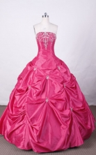 Swwet Ball Gown Strapless FLoor-Length Hot Pink Appliques And Beading Quinceanera Dresses Style FA-S-124