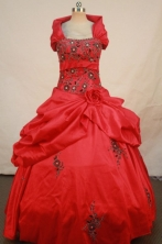 Wonderful Ball Gown Strapless Floor-length Quinceanera Dresses Embroidery Style FA-Z-0276