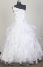 Classical Ball Gown One Shoulder Floor-length White Quinceanera Dress LZ426044