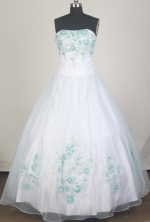 Exquisite Ball Gown Strapless Floor-length White Quinceanera Dress LZ426051