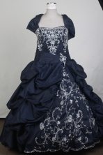 Gorgeous Ball Gown Square Neck Floor-length Navy Blue Quinceanera Dress LZ426003