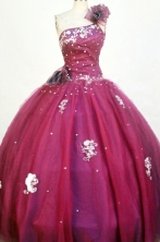 Perfect Ball Gown One Shoulder Floor-length Burgundy Appliques Quinceanera dress Style FA-L-227