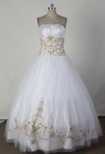 Simple Ball Gown Strapless Floor-length White Quincenera Dresses  TD26007